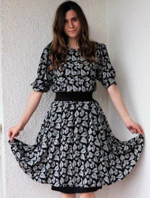 Vintage Kleid Schwarz Grau Sommerkleid Floral Hippie Folkore
