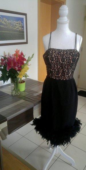 Vintage Kleid sexy wiggledress federn spitze 50s