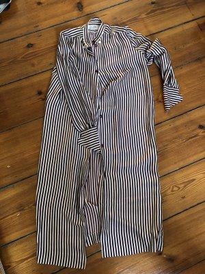 Vintage Kleid Streifenkleid aus Seide Seidenkleid Hemdblusenkleid Christian Dior
