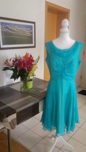 Vintage Kleid Swing tellerrock chiffon Türkis blau 50s