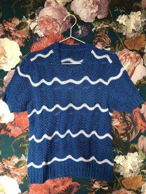 Vintage Haut tricotés blanc-bleu