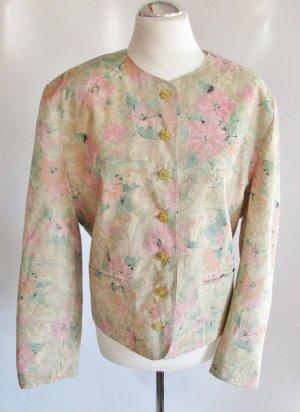 Vintage Kurzjacke Größe 44 Pastell Blumen Muster Trachten Jacke Blazer Landhaus 80er Schultern Beige Rosa Grün