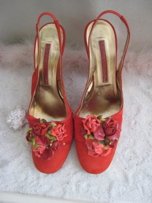 Vintage´La Lorenzi Luxus mal Nostalgisch Romantisch Blüten Slings Abs. 12 cm NP 469 € Top
