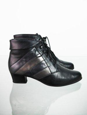 Vintage Lace Up Boots mit Streifen in Silber-Optik 36
