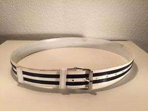 Vintage Lack-Gürtel maritimer Look - Streifen