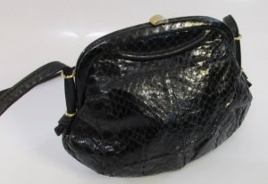 Vintage Frame Bag black leather