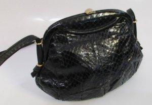 Vintage Bolso con correa negro Cuero