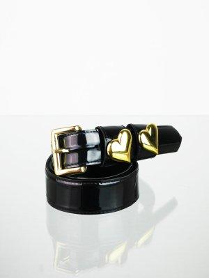 Vintage Lackgürtel Schwarz mit zwei Herzchen Schlaufen