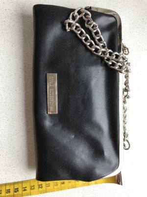 Vintage Leder- Clutch in schwarz