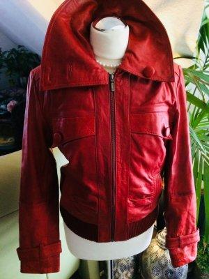 Vintage Leder Jacke von Heine Gr. 38 M rot
