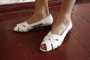 Vintage Leder Sandalen Made in Italy Weiß Vero Cuoio
