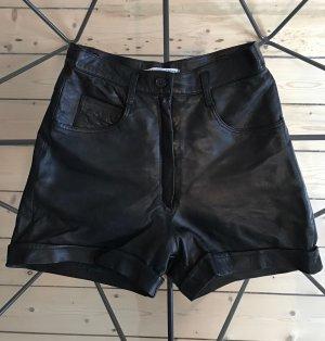 Vintage Leder Shorts High Waist schwarz Gr. 36