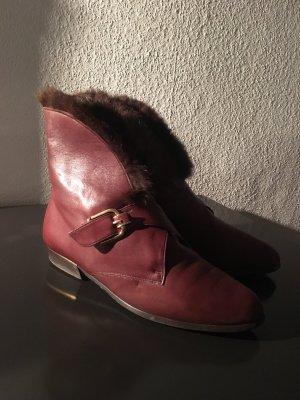 Vintage Leder Stiefel, Stiefelletten,Winterstiefel, Gr. 41,Braun