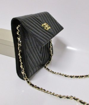 Vintage Borsa a spalla nero-oro Pelle