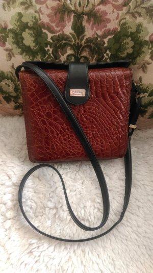 Vintage Leder Umhänge Tasche - Braun Schwarz Gold - Sehr guter Zustand!!