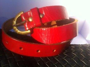 Vintage Ledergürtel, lackrot, Lackleder festeQualität, antikSchließe, S-M