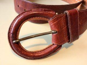 Cintura di pelle marrone-marrone chiaro Pelle