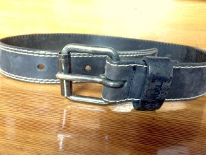Leather Belt black-anthracite leather