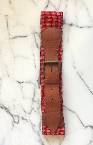 Vintage Ledergürtel mit roten Perlen