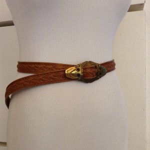 Belt cognac-coloured-gold-colored