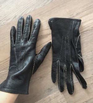 Leather Gloves black-brick red