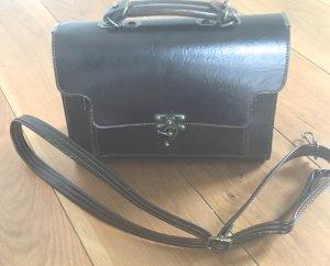 Vintage Handtas zwart bruin Leer