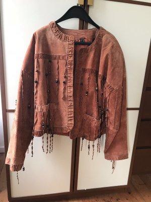 Vintage Veste en cuir multicolore