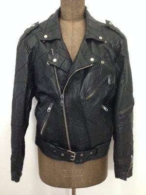 Vintage Lederjacke/ Bikerjacke, echtes Leder, Gr. 42