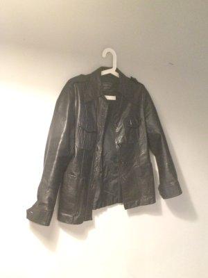 Vintage Lederjacke Echtleder tailliert 70s 90s schwarz 38 40  M L