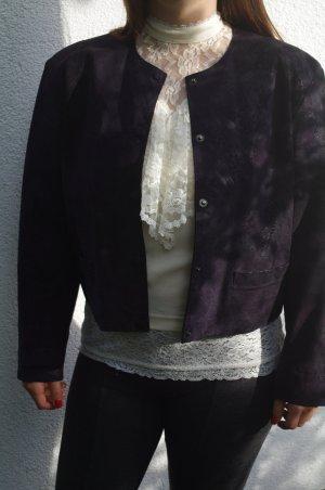 Vintage Lederjacke Wildleder Größe 38 M Aubergine dunkles Lila Farnmuster