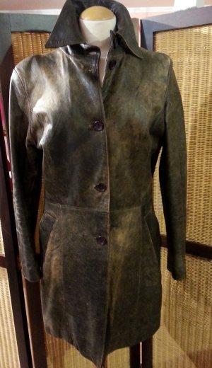 Abrigo de cuero marrón grisáceo-color oro Cuero