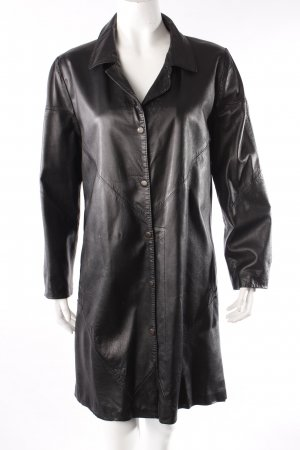 Vintage-Ledermantel schwarz