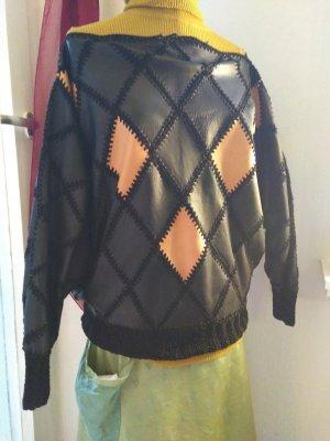 Gehaakte trui zwart-licht Oranje Leer