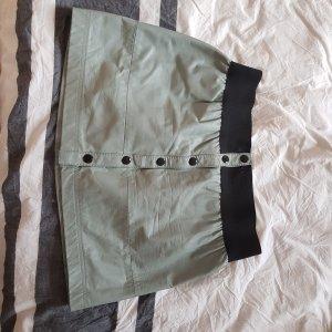 Leather Skirt sage green-black leather