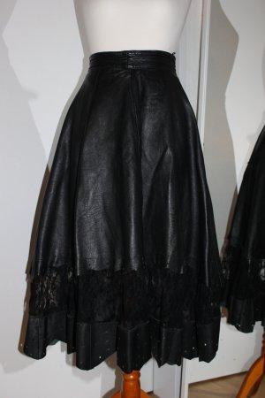 Vintage Lederrock mit Spitze Gr. 36