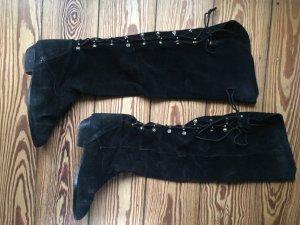 Vintage Lederstiefel Piratenstiefel Slouch-Boots Wildleder schwarz - 38