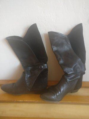 Vintage Kaplaarzen zwart Leer