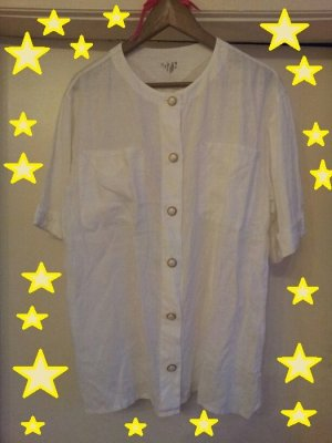 Vintage Blusa de lino blanco puro-color oro