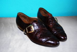 vintage loafers flats gabor kroko lack leder mahagoni dunkelbraun 38 #Gabor