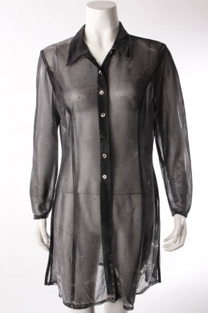 Vintage-Long-Bluse silbergrau