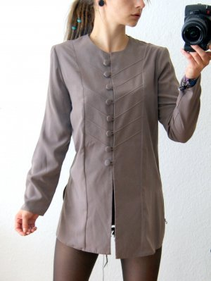 Vintage Longbluse dunkelgrau, military Bluse taupe Uniform, blogger preppy