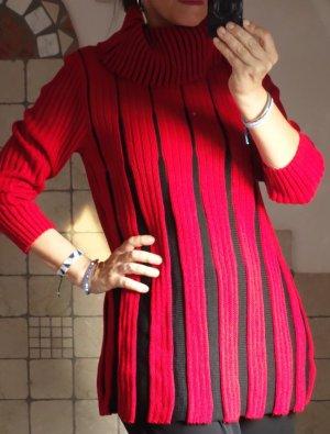 Vintage Longpulli mit Rollkragen, Ripp Strick Rot / Schwarz, super erhalten, sehr schönes Modell, tolle Farbe, A-Linie, Streif, zweifarbig, Muster, Acryl, Gr. M/L