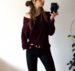 Vintage Longshirt burgund, oversized Sweater elastisch, grunge festival blogger