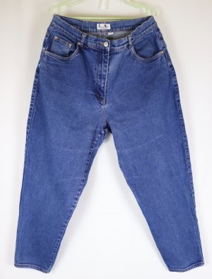 Vintage Look 80er Mega Mom Jeans Hose Laura Kent Größe 42 44 L30 Kurz Blau Blue Denim Stretch Karotte High Waist