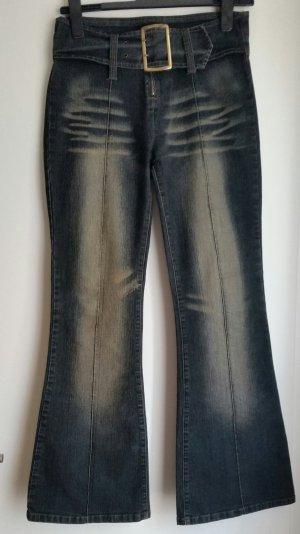 Vintage-Look Jeansschlaghose / Washed-Optik 70ies - Stil