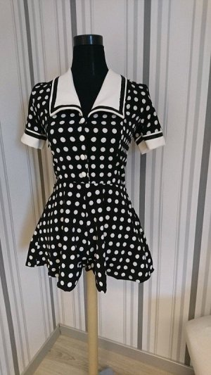 Combinaison noir-blanc tissu mixte