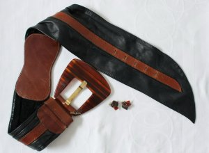 Vintage Leather Belt black-brown leather