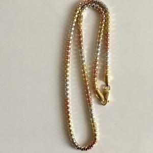 Vintage Luxus Modern Art Kette Silberkette Collier tricolor Juwelierstück gold silber Rotgold