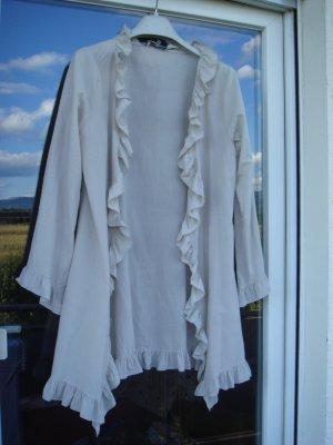 Vintage - Madame Coco - offene Bluse mit Rüschen Gr. 40 42 hellbeige