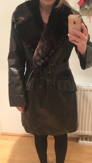Leather Coat bronze-colored imitation leather